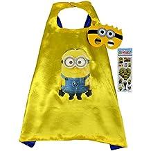 Minion Super Héroes de disfraces para niños - Minion Cape y máscara - Juguetes para niños y niñas - Disfraz para niños de 3 a 10 años - para Fasching o temática de fiestas. Mungo - King - kmsc011