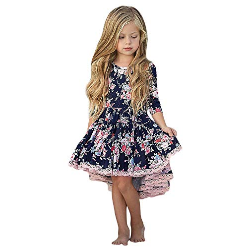 Kobay Kinder Mädchen Langarm Blumendruck Unregelmäßiger Rand Tanzen Kleid(2-3T,Dunkelblau)