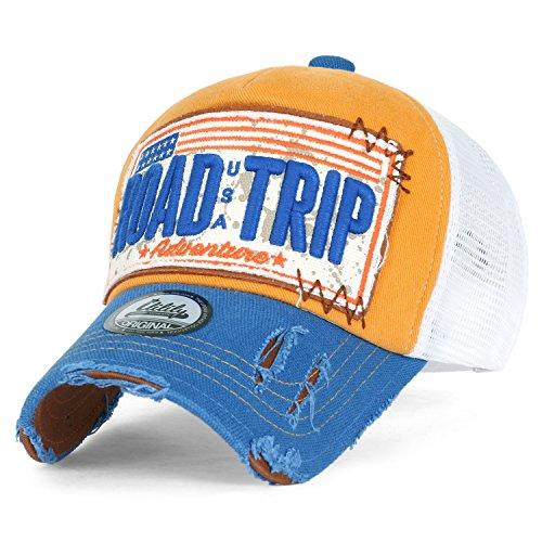ililily Strasse Trip klassischer Stil abgenutztes Aussehen Snapback Trucker Cap Hut Baseball Cap, Yellow