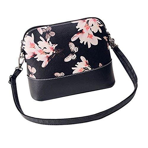 VENMO Frauen die Schulter-Beutel drucken PU-Leder Geldbörse Satchel Messenger Bag (Black) (Luxe Leder-satchel)
