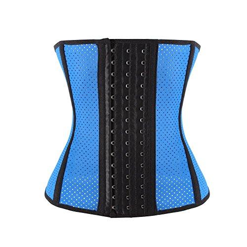 FeelinGirl Damen Latex Training Sport Unterbrust Korsett Cincher Shaper Body Tailenmieder S Blau mit Loch,EU 32