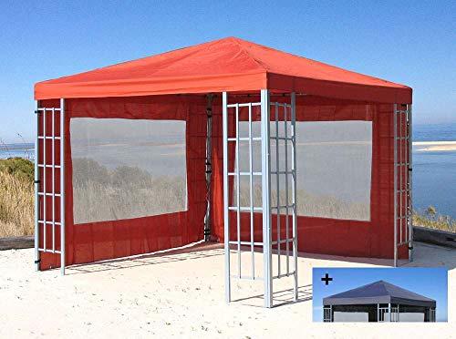 Quick-Star Rank Pavillon Set 3x3m Metall Garten Partyzelt Terra mit extra Ersatzdach