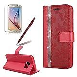 Bling Diamant PU Lede Hülle für Galaxy S7, Girlyard Luxus Glitzer Flip Wallet Case mit Blumen Rot Malerei Muster Entwu