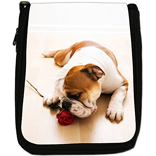British Bulldog inglese Medio Nero Borsa In Tela, taglia M Bull Dog With Red Rose