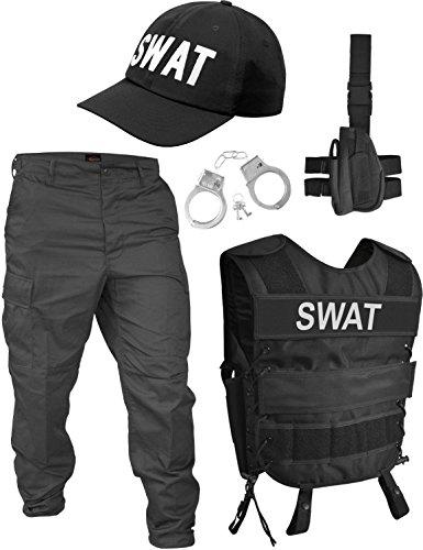 Kostüm Tragen Husky - normani Fashingskostümset SWAT Set mit Weste, Rangerhose, Cap, Handschellen Größe M/Rechts