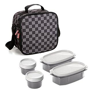 TATAY 1167510 - Urban Food Casual Chess - Bolsa térmica Porta Alimentos con 4 tapers herméticos incluidos, 3 litros de capacidad, Estampado de cuadros en gris y negro, 22.5 x 10 x 22 cm (B01ENTN6R2) | Amazon Products