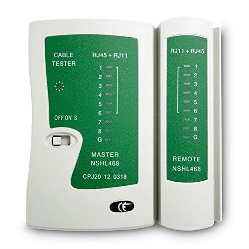 GEZICHTA RJ45/RJ11Ethernet Kabel Testen Tester Test Tool für CAT5Cat 6mit Remote-Tester, Netzwerk LAN Kabel Tester Werkzeug (Cat5-6 Tester)