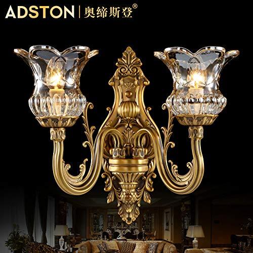 BOOTU LED Alle Kupfer Wand Stud Wandleuchten antike Treppe Balkon über der Straße Lampe Schlafzimmer Nachttischlampe einzelne Wand, Double Wandleuchte -