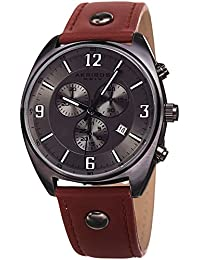 Akribos XXIV Men's Quartz Stainless Steel and Leather Casual Watch, Color Brown (Model: AK969GN)