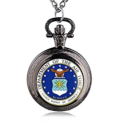 ShopyStore Black New Style Vintage The USA Department of The Air Force Quartz Pocket Watch with Ne