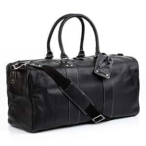 BACCINI Reisetasche TOBY - Weekender XL - Sporttasche mit praktischem Gepäckanhänger - echt Leder schwarz