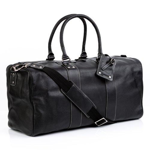 BACCINI Reisetasche Leder TOBY XL groß Sporttasche Unisex 35l Weekender echte Ledertasche Damen Herren 52 cm schwarz
