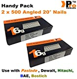 Drahtstift/Nagel, sortiert, im praktischen Pack, 1000 Stück, 1,3 mm, abgewinkelt, geeignet für Paslode, Dewalt
