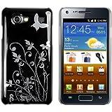 mumbi Schmetterling Blumen Hülle Samsung Galaxy S Advance Schutzhülle (Harte Rückseite) Butterfly schwarz