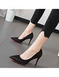 Xue Qiqi perforación de agua punta fina chica de tacones altos con la elegante luz-,38, negro singles femeninos...