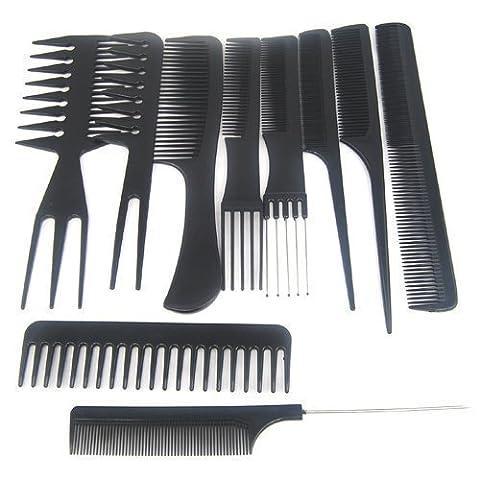 Gearmax® Set 10 Peigne Plastique Noir Antistatique pour Salon Coiffure