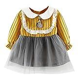 Kinderbekleidung Babykleidung Neugeborenes Junge Mädchen Kleinkind Party Prinzessin Kleider Blumen Camouflage Langarm Kleid Spitze Streifen Kleid Kleidung LMMVP (Gelb, 90 (18M))