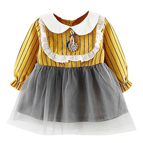 Kinderbekleidung Babykleidung Neugeborenes Junge Mädchen Kleinkind Party Prinzessin Kleider Blumen Camouflage Langarm Kleid Spitze Streifen Kleid Kleidung LMMVP (Gelb, 100 (24M)) (Dot Velour Pant)
