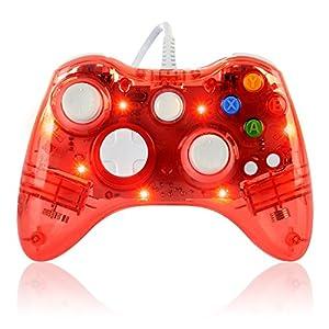 Althemax® verdrahtete transparente Glow USB LED Lichter blinkt Game Pad Joysticks Controller Gamepad für Microsoft XBox 360 Slim Windows 10 Multi Farben – Rot