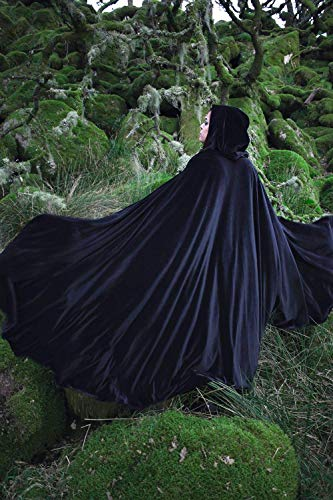 Mittelalterlicher Robe Umhang mit Kapuze schwarz, Kostüm Cape Fairytale Fantasie Mantel (Schwarz Womens Halloween-kostüme)