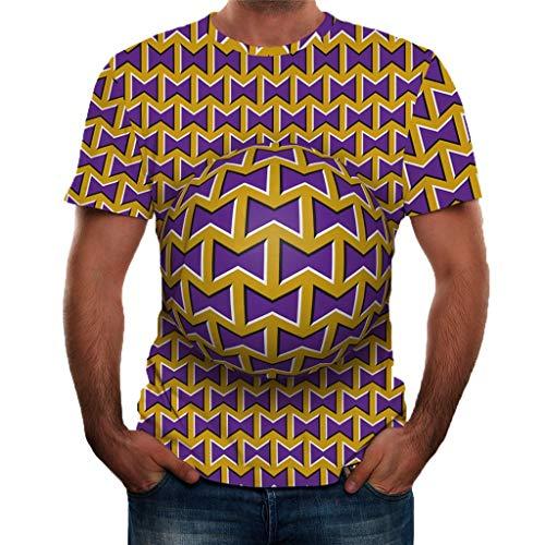 Drucken Mens Tee (T-Shirts für Herren BIBOKAOKE Sommer 3D Drucken Basic Sweatshirt Slim Fit Kurzarm Tee Fitness Bluse Casual Sport Shirt Herren Jogging Yoga Männer Tops)