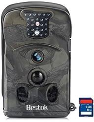 Bestok Caméra de Chasse 12MP HD Caméra Animaux de Surveillance 20m Infrarouge 120° Grand Angle Vision Nocturne IR LEDs Basse Luminosité Imperméable Carte SD 8 Go