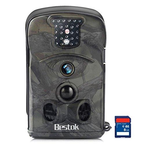 Foto de Bestok Cámara de Caza 12MP HD Trail Cámara 20m 120 ° Gran Angular Infrarrojo Visión Nocturna IR LEDs Impermeable Cámara de Vigilancia Sensor de Movimiento Tarjeta SD 8GB