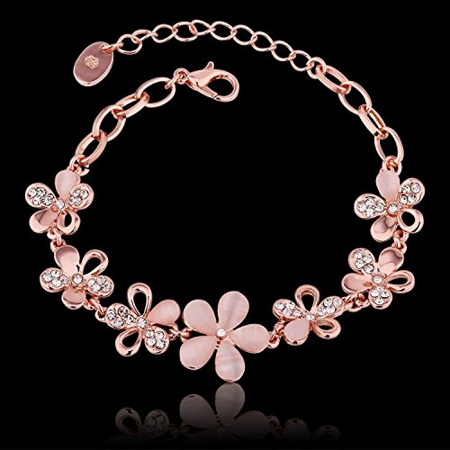 Shining Diva Fashion Rose Gold Crystal Charm Bracelet Gifts for Girls