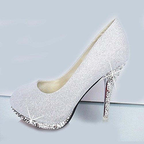 XINJING-S Bowknot Tacchi Alti scarpe matrimonio partito donne tacchi pompe OL vestono scarpe Sandali Argento 10cm