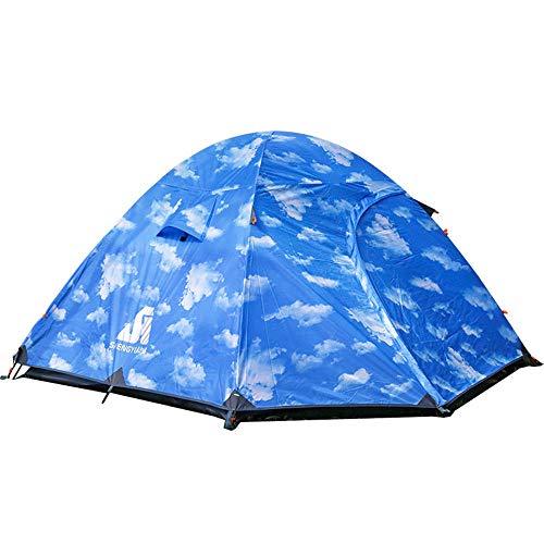 LEDU Carpa al Aire Libre, Camping Mano con Poste de Aluminio 3~4 Personas al Aire Libre Escalada Doble Puerta Impermeable 3000mm Gazebo Villa móvil ventilación Tienda Durable