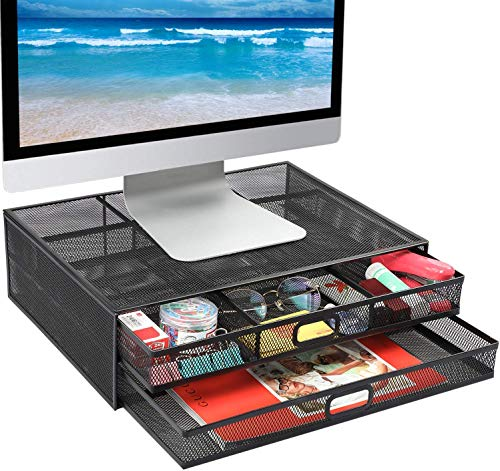 HUANUO Monitorständer mit 2 Schublade für Laptop, Notebook, PC, Monitor, Computer, Drucker, Scanner bis zu 15kg