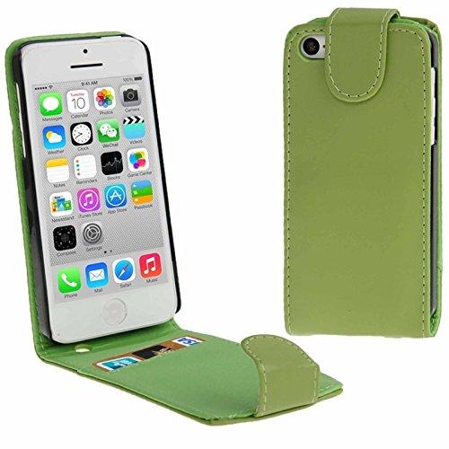 Mxnet Vertikale Flip Leder Tasche mit Kreditkarte Slot für iPhone 5C rutschsicher Telefon-Kasten ( Color : Green - 5c Kreditkarten-telefon-kasten Iphone