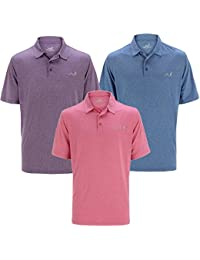 Woodworm Golf Mens Solid Heather Golf Polo Shirt 3 Pack