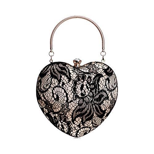 ZYXB Spitze Luxuriöse Frauen Herz Abendtaschen Aushöhlen Design Strass Kupplungen Kette Schulter Geldbörse Handtaschen,Black - Black Diamond-kupplung