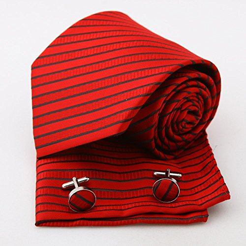 PH1108 Gift Box Red Stripe Woven cravatta di seta Fazzoletti Gemelli Set Firebrick Ognissanti presenti Epoint