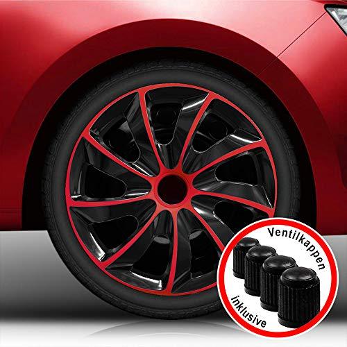 hlbar) 16 Zoll Radkappen, Radzierblenden Quad Bicolor (Schwarz/Rot) passend für fast alle Fahrzeugtypen (universal) ()