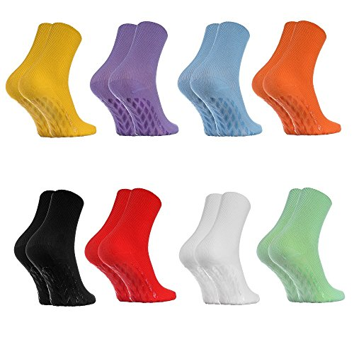 8 Paar Anti-Rutsch Socken ohne Gummibund für Geschwollene Füße, Stoppersocken ABS System Für Diabetiker und Krampfader, Größen 39-41 Mehrfarbig, Bequem und Zart, Zertifikat Öko-Tex, made in Europa