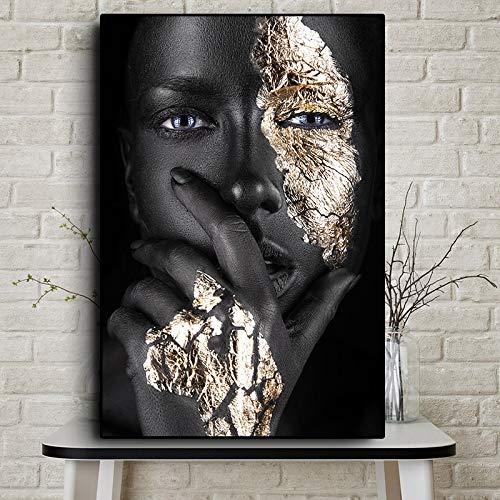 sanzangtang Afrikanische Kunst Schwarz und Gold Frau Ölgemälde Poster und Drucke auf Leinwand Nordic Living Room Wandbild Frameless 60x90cm