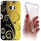 Samsung Galaxy J3 (Modell 2016) J320 Softcase Hülle Cover Backkover Softcase TPU Hülle Slim Case für Samsung Galaxy J3 (Modell 2016) J320 (1073 Abstract Schwarz Gold)