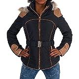 H455 Damen Winter Jacke Steppjacke Parka Jacket Daunen Look Winterjacke, Farben:Schwarz, Größen:L