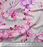 Soimoi Grau japanischer Kreppsatin Stoff Vogel & Orchideen