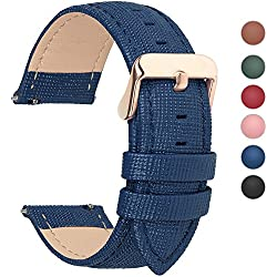 6 Colores para Correa de Reloj,FullmosaCross Piel Correa Huawei Samsung Correa/Banda/Band/Pulsera/Strap de Recambio/Reemplazo 18mm 20mm 22mm 24mm,Azul Oscuro 18mm