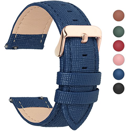 Fullmosa Uhrenarmband, Cross Serie Echtes Lederarmband Ersatzband Smart Watch Armband mit Edelstahl Metall Schließe 18mm Dunkelblau - Uhren Coach Gold Frauen