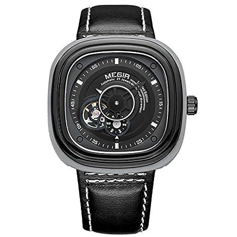 HY-FHLJ Regarder Alliage Cuir Bague de montre Quartz Imperméable Entièrement automatique Mécanique Hommes Montre-bracelet , Black , male