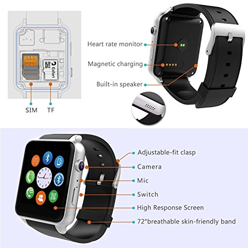 AGPTEK GT88 Smart Watch Bluetooth 40 Connectivity Sports Activity Tracker With Heart Rate Monitor Magnetic Charging Health Exercise Fitness Tracker For AndroidApple IOS Silver