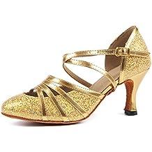 38864ee9f01 Syrads Zapatos de Baile Latino para Mujer Danza de Tango Samba Vals de  Salón Sandalia de