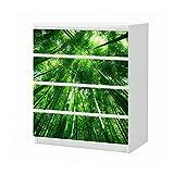 Set Möbelaufkleber für Ikea Kommode MALM 4 Fächer/Schubladen Baum Baumkrone grün Wald Bäume Aufkleber Möbelfolie sticker (Ohne Möbel) Folie 25B1643