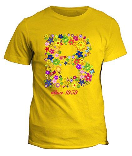 Tshirt nome con iniziale floreale B since 1959 - compleanno - fashion - summer - idea regalo - in cotone Giallo