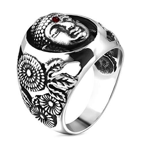Autiga Cooler Edelstahl Herren-Ring Damen-Ring Buddha Buddhismus Silber 62 - Ø 19,76 mm