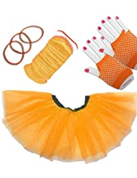 4 Piece Fancy Dress Set, Tutu + Leg Warmers + Short Fish Net Gloves + Gummy Bands